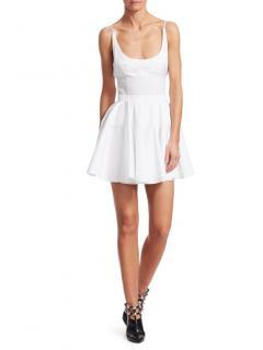Alexander Wang White Mesh Trim Cotton Poplin Mini Dress