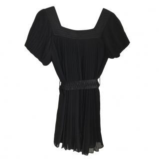 Diane Von Furstenberg Black Pleated Silk Dress