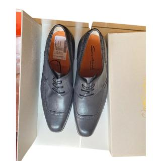 Santoni Grey Leather Derbies