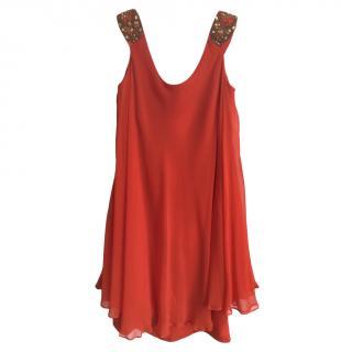 Marchesa Notte Red Silk Embellished Mini Dress
