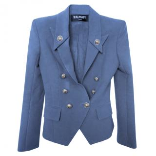 Balmain Blue Double Breasted Tailored Jacket