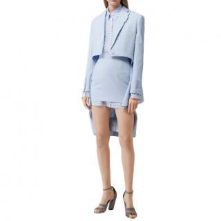 Burberry Blue Wool Step-Through Skirt Suit SS20