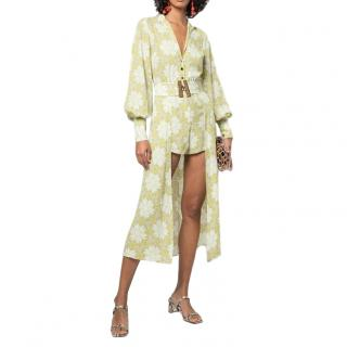 Alexis Lime Green Printed Playsuit with Skirt SS20