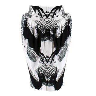 Burberry Deer Print Gathered Jersey Sculptural Skirt
