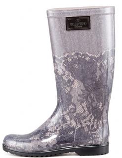 Valentino Lace-Print Rain Boots