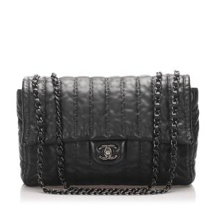 Chanel Stitch Detail Lambskin Leather Flap Bag