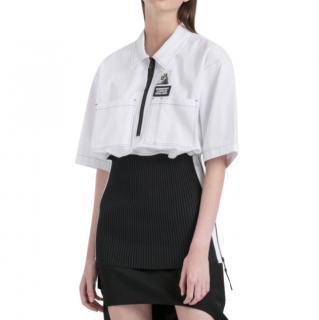 Burberry Rib Knit Detail Cotton Oversized Shirt