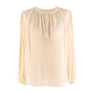 Celine Beige Silk Sheer Longsleeve Blouse