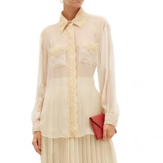 Burberry Shelly Lace Trimmed Silk Chiffon Blouse