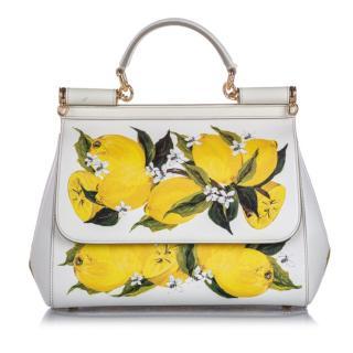 Dolce & Gabbana Miss Sicily Lemon Leather Satchel