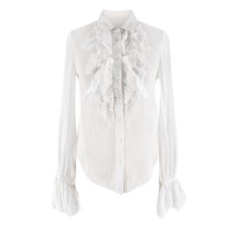 Saint Laurent White Sheer Silk Georgette Ruffled Shirt