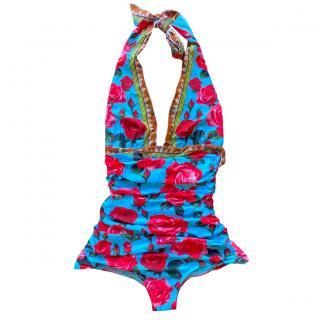 Dolce & Gabbana Blue Floral Butterfly Print Halterneck Swimsuit
