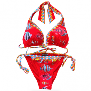 Dolce & Gabbana Red Tropical Fish Print Halterneck Bikini