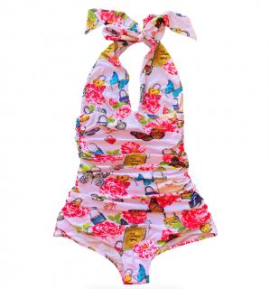 Dolce & Gabbana Pink Floral Padlock Print Halterneck Swimsuit