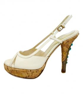 Dior Ivory Slingback Jewelled Heel Sandals