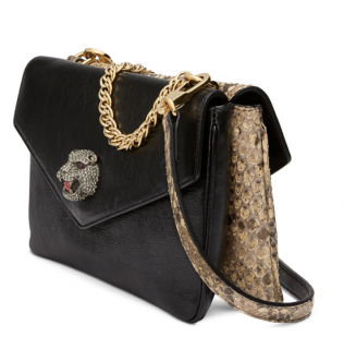 Gucci Python & Black Leather Thiara Double Shoulder Bag