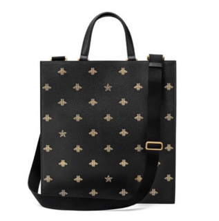 Gucci Black Leather Bee & Star Print Large Tote Bag