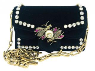 Gucci Broadway Bee black velvet bag