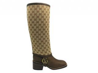 Gucci Beige Monogram Lola riding boots