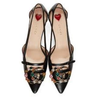 Gucci embellished GG black leather UNIA pumps