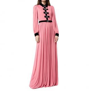 Gucci black velvet bow detail pink gown
