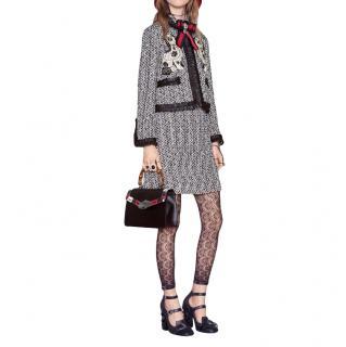 Gucci spaniel motif tweed leather silk trim jacket