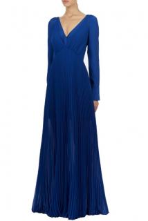 Self Portrait Blue Pleated Chiffon Gown