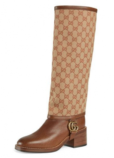 Gucci Lola GG Canvas and Leather Riding Boot