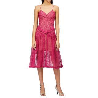 Self Portrait Pink Crochet Lace Midi Dress