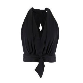 Giorgio Armani Black Silk Cropped Top