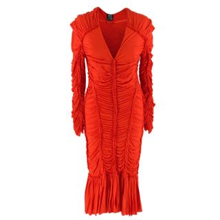 McQ by Alexander Mcqueen Red Ruched Long Sleeve Dress