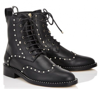 Jimmy Choo Black Studded Leather Hannah Boots