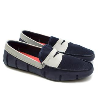 Swims Navy Rubber Noted Lux Driver Loafers