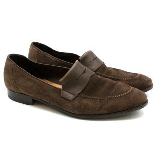 John Lobb Brown Suede Loafers