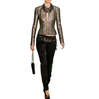 Chanel black silk satin low rise black trousers