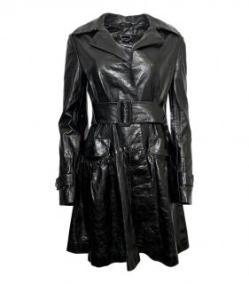 Philipp Plein Black Leather Ltd Edition Logo Trench Coat