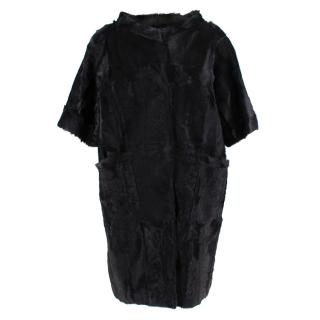 Marni Black Dankalia Kid Fur Short Sleeve Long Jacket