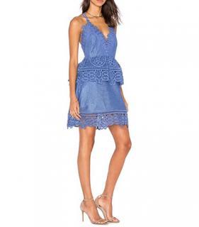 Self Portrait Cornflower Blue Lace Trim Mini Dress