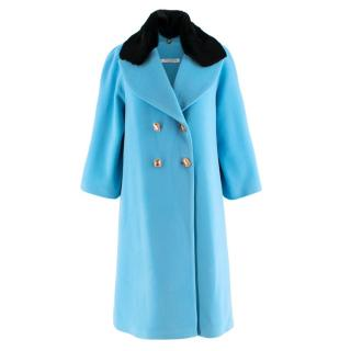 Vivetta Turquoise Wool Coat with Detachable Collar