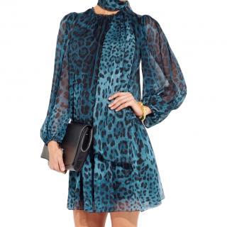 Dolce & Gabbana Blue Leopard Print Tie Neck Dress