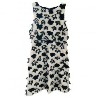 Alice + Olivia black & white floral applique dress