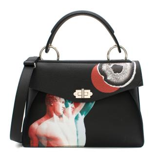 Proenza Schouler Black Leather Greek Statue Print Top Handle Bag