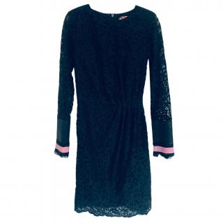 MSGM Black Lace Long-Sleeve Dress