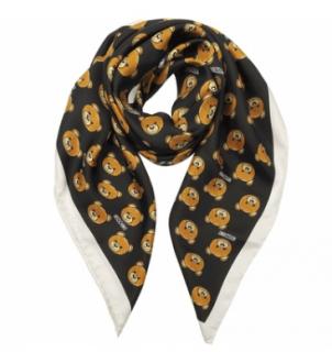 Moschino Teddy Print Silk Scarf