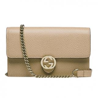 Gucci Beige Dollar Calfskin Interlocking G Chain Wallet