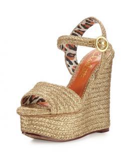 Charlotte Olympia metallic gold 'Karen' Wedge sandals