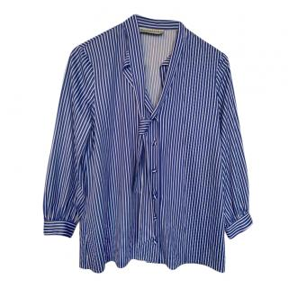 Balenciaga blue and white striped blouse