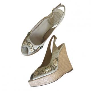 Dior vintage beige exotic skin wedge sandals