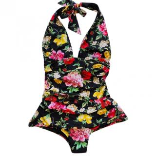 Dolce & Gabbana flowers and butterflies printed one piece swimsuit