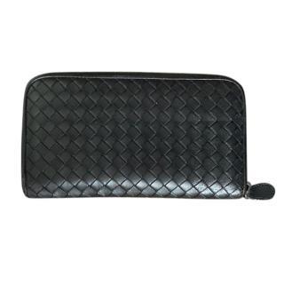 Bottega Veneta black zip round wallet